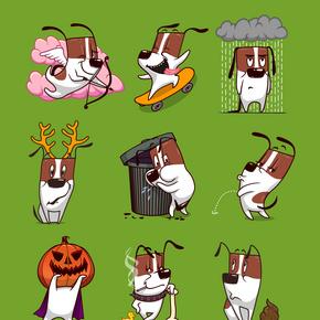儿童画手绘动物卡通哈巴狗背景元素插画