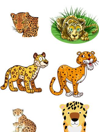 卡通<i>花</i>豹动物手绘PNG透明设计元素