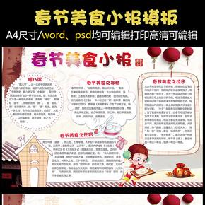 春节美食小报饮食文化小报模版