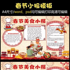 春节美食小报新年饮食文化小报