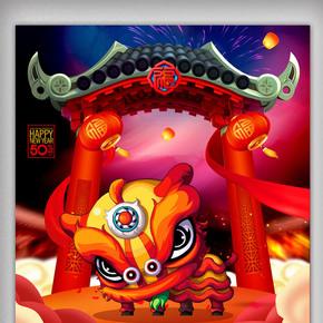 闹元宵中国风节日海报设计