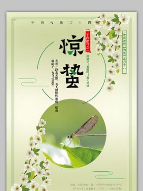 小清新中国风传统节气惊蛰海报模板