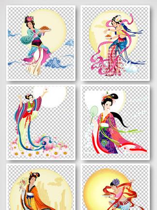 中秋节团圆卡通手绘<i>嫦</i><i>娥</i><i>仙</i><i>女</i>元素