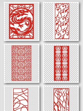 中国风屏风花纹边框元素