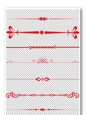 红色皇冠花纹边框元素