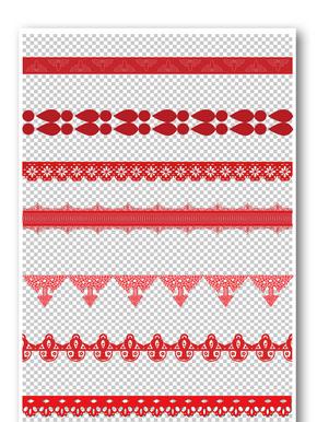 红色剪纸花纹边框元素