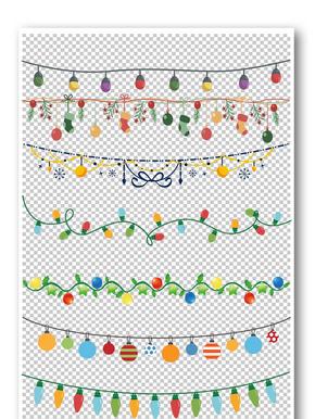 圣诞彩灯装饰花纹边框元素