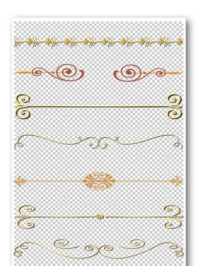 装饰金色花纹边框元素
