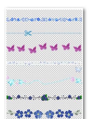 蓝色花纹边框元素
