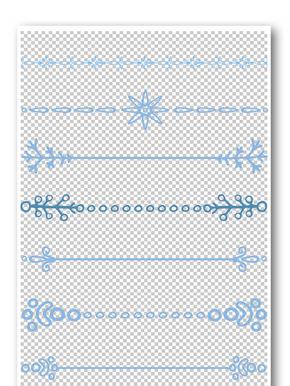 蓝色小清新花纹边框元素