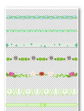 绿色小清新花纹边框元素