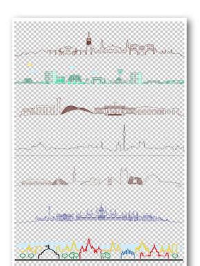 手绘城市线条花纹边框