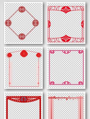 红色线条中国风边框手抄报元素