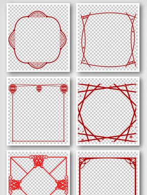 中国风简洁红线条手抄报边框元素