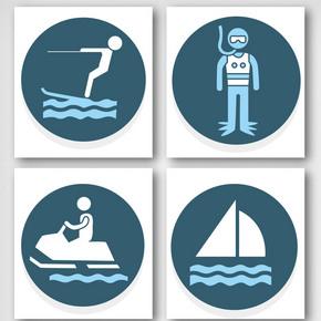卡通水上运动图标元素