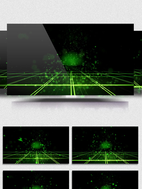绿色五角星空间粒子动感led舞台背景