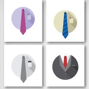 卡通商务男士领带元素