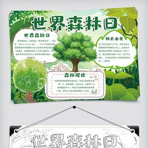 绿色卡通小报环保小报世界森林日小报