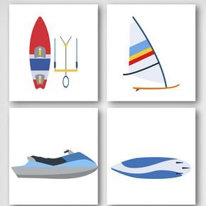 卡通潜水运动员装备元素