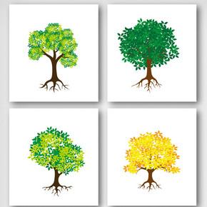 卡通绿色树植元素