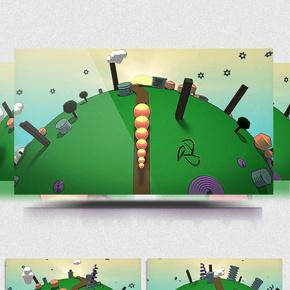 卡通动画毛毛虫穿越地球环保主题背景
