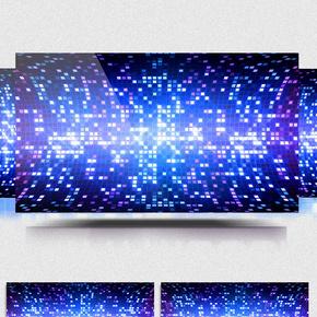 旋转闪烁粒子方块动感蓝色舞台led背景