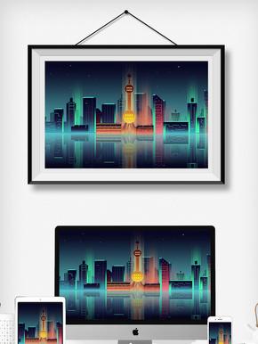 渐变城市夜景上海地标东方明珠科技感插画
