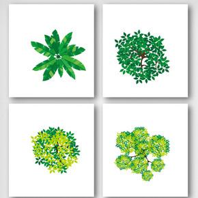 卡通绿色热带雨林树叶元素