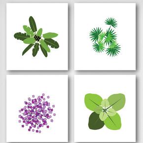 卡通绿植叶子花卉元素