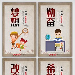 卡通创意中国风校园?#19968;?#20869;容展板