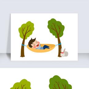 吊床男孩卡通人物圖