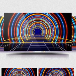 绚丽霓虹拱形光线带音乐
