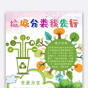彩色卡通风格环保小报垃圾分类小报