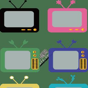 老式电视卡通红色矢量素材