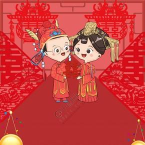 中国风古典结婚婚礼婚庆红色花轿鼓背景