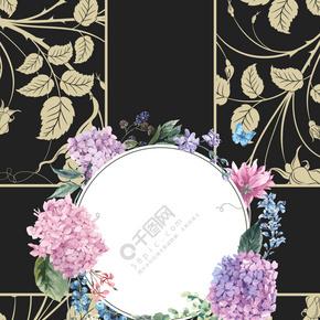 婚礼请柬大气黑色金色花纹背景海报