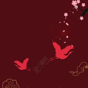 中国风简约国庆10.1红色背景海报