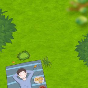 国庆长假草坪俯视卡通背景