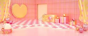 C4D粉嫩母亲节温馨爱心礼盒背景