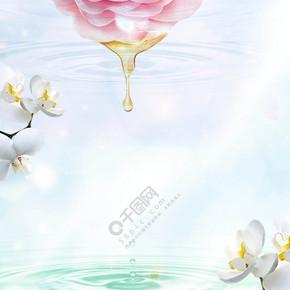 简单花朵滴落水滴化妆系列背景