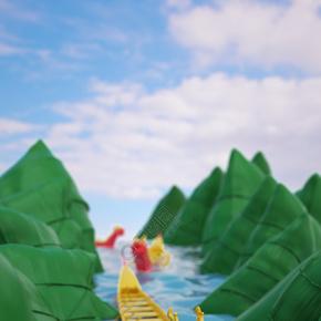 C4D端午节创意粽子龙舟电商促销海报背景