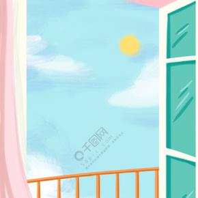 蓝色天空和窗户免抠图