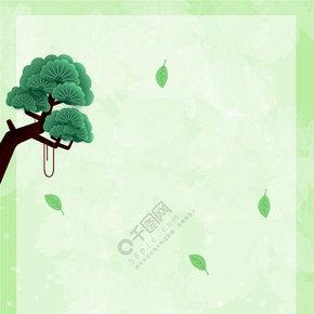 春茶节简约扁平绿色背景图