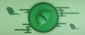 端午节清新绿色粽子电商促销海报背景