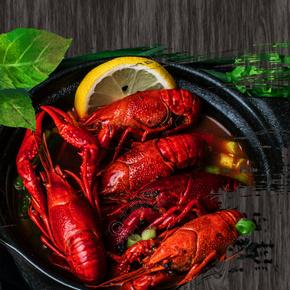简约大气小龙虾木板纹理美食促销背景