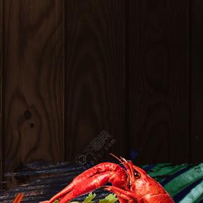 简约大气小龙虾美食促销黑色背景