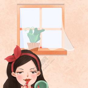 手绘插画风38妇女节女神节小清新海报