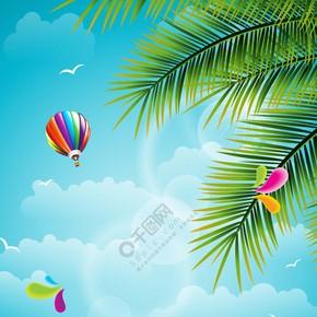 沙滩夏日旅游宣传海报