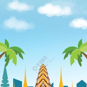 创意泰国旅行合成卡通背景
