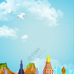 创意简约泰国旅游合成背景